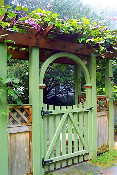 Garden Gate With Arbor And Fence