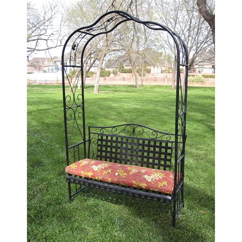 Garden Oasis Metal Arbor With Bench And Cushion