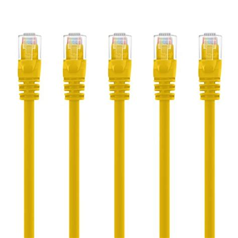 GearIT 20-Pack, Cat5e Ethernet Patch Cable 3 Feet - Snagless RJ45 Computer LAN Network Cord, Yellow