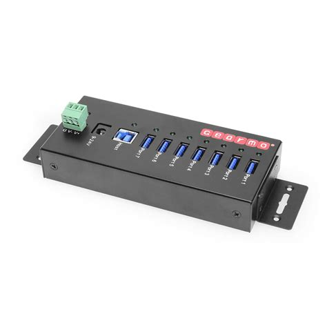 Gearmo USB 3.0 7 Port Industrial Metal Hub w/15KV ESD Protection & Mounting, Power supply included