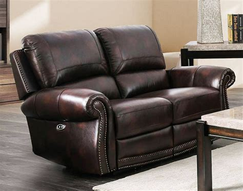 Genuine Leather Loveseat Recliner With Console
