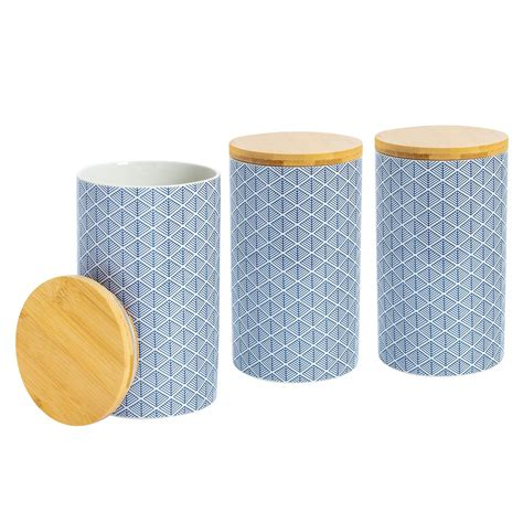 Geometric 3 Piece Kitchen Canister Set