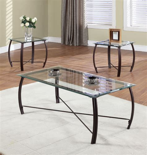 Glass And Steel Coffee And Side Table Set