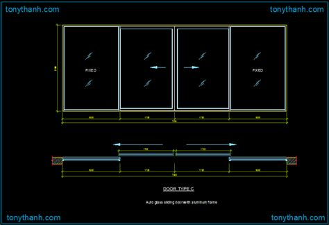 Glass Door Plan Cad Block