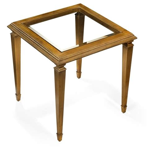 Gold Leaf And Wood Side Table