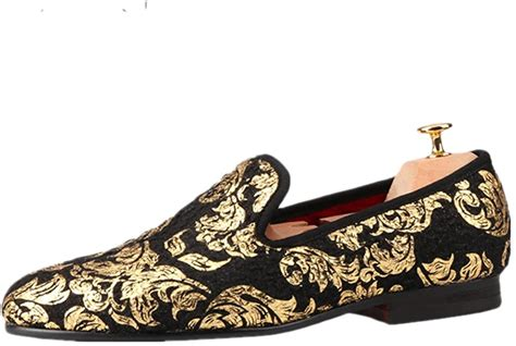 Gold Printing Men's Velvet Loafer Shoes Slip-On Loafer Round Toes Smoking Slipper