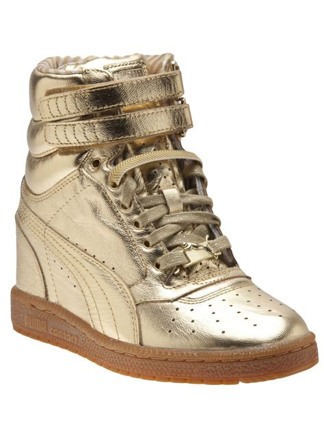 Gold Puma Sneakers Wedges