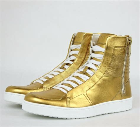 Gold Gucci High Top Sneakers