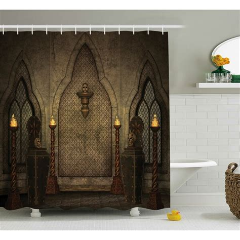 Gothic House Fantasy Scene With Old Wooden Torch And Skull Candlestick Shower Curtain