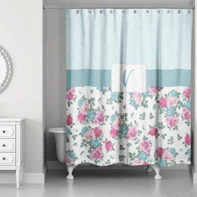 Graciano Floral Monogram Shower Curtain By One Allium Way