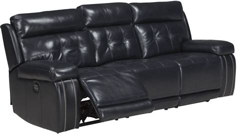 Graford Navy Power Reclining Sofa With Adjustable Headrest