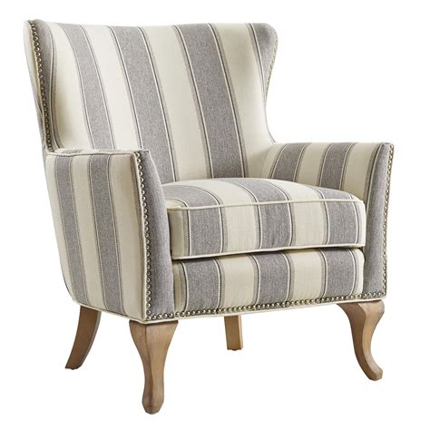 Gray Striped Accent Chairs