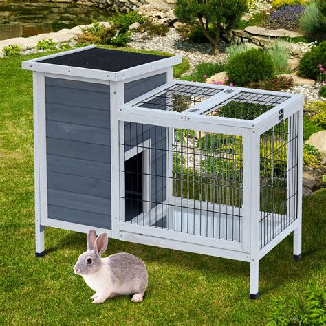 Gray Washed Wood Rabbit Hutch