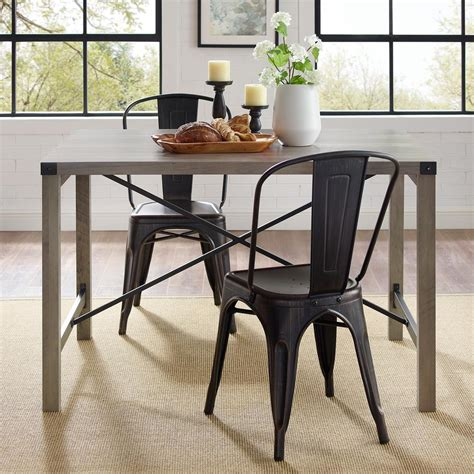 Gray-Industrial-Farmhouse-Dining-Table