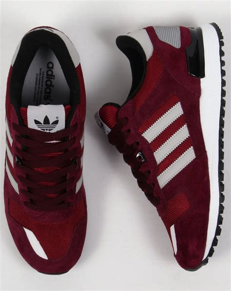 Grey And Maroon Adidas Sneakers