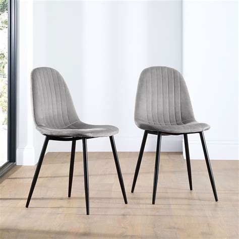 Grey Dining Chair Black Legs