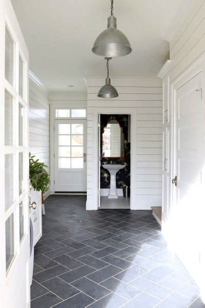 Grey Tile Entryway Ideas