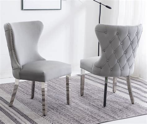 Grey Velvet Button Back Dining Chairs
