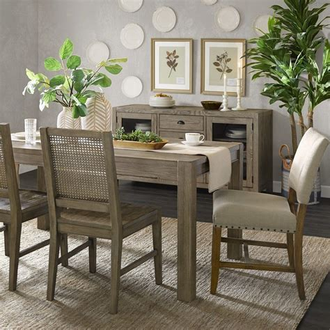 Grey Washed Wood Dining Table Set