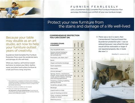 Guardsman Furniture Protection Plan Complaints Warranty