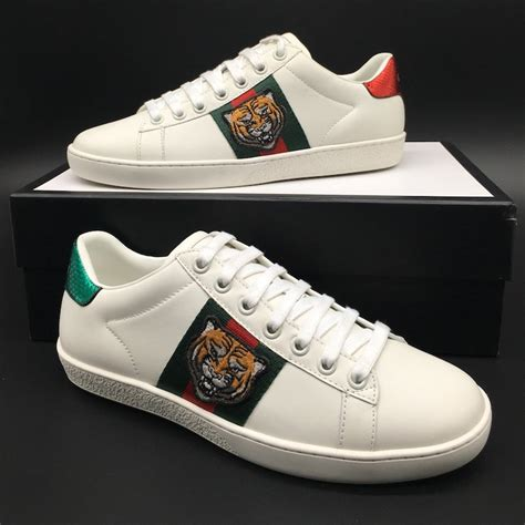 Gucci Ace Embroidered Low-top Sneaker Mens Tiger