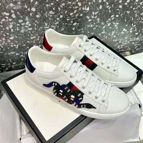 Gucci Ace Embroidered Sneaker Black Vs White