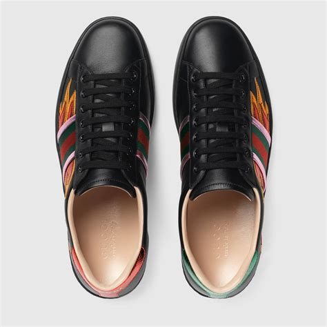 Gucci Ace Low Top Sneaker With Flames