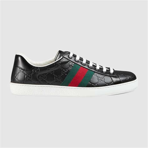 Gucci Ace Signature Leather Low Top Sneaker