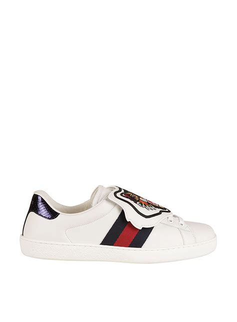 Gucci Ace Watersnake Trimmed Embellished Leather Sneakers