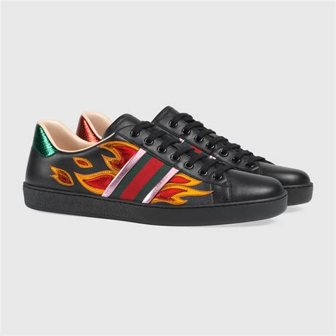 Gucci Aces Sneaker With Flames