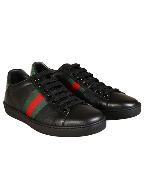Gucci Black Leather Sneakers