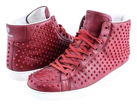 Gucci Brooklyn Leather Studded High-top Sneaker Red