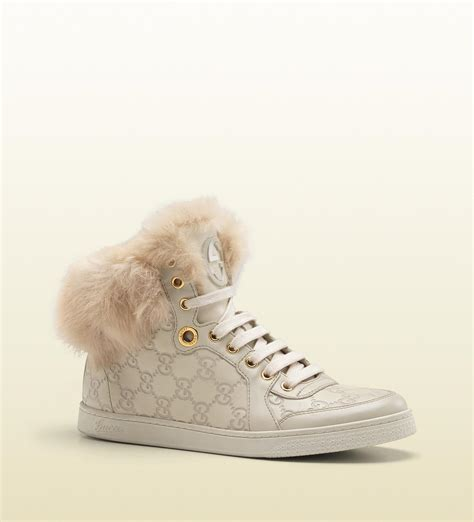 Gucci Coda Fur Trim Hi Top Interlocking G Sneaker