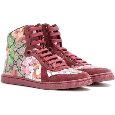 Gucci Coda Gg Blooms Printed Leather And Suede High-top Sneakers