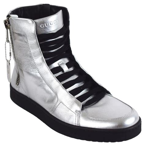 Gucci High Top Sneakers Silver