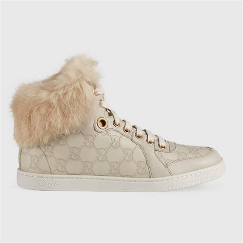 Gucci High Top Sneakers With Fur