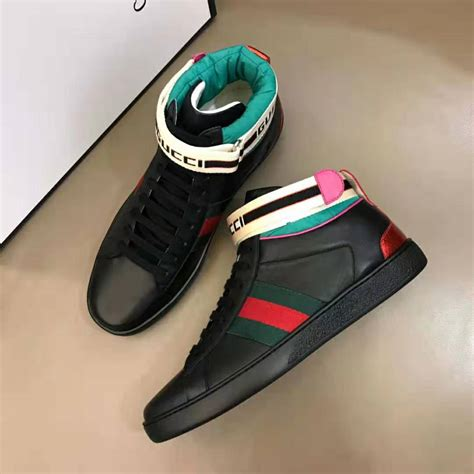 Gucci Leather And Canvas High-top Sneaker Pre Fall 2019