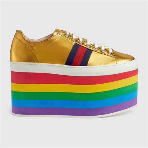 Gucci Leather Low Top Platform Sneaker