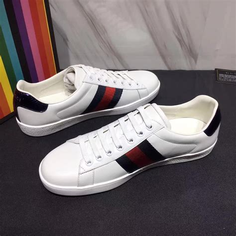 Gucci Leather Low Top Web Sneakers Oatmeal