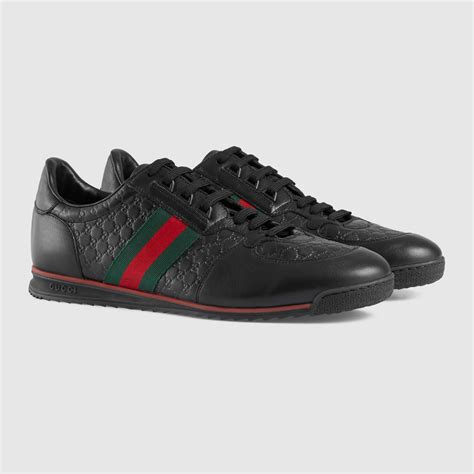Gucci Mens Shoes Leather Trainers Sneakers Moora Black