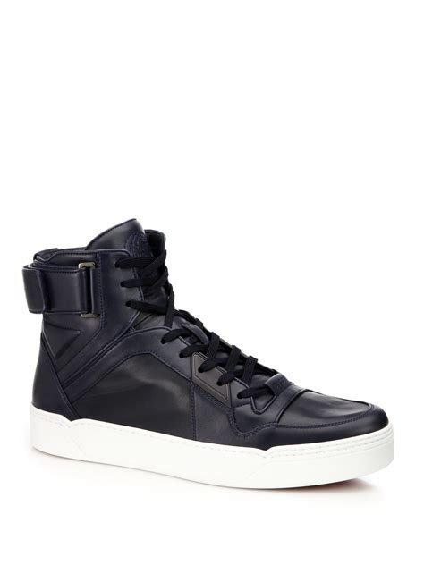 Gucci Navy Blue Leather High Top Sneakers