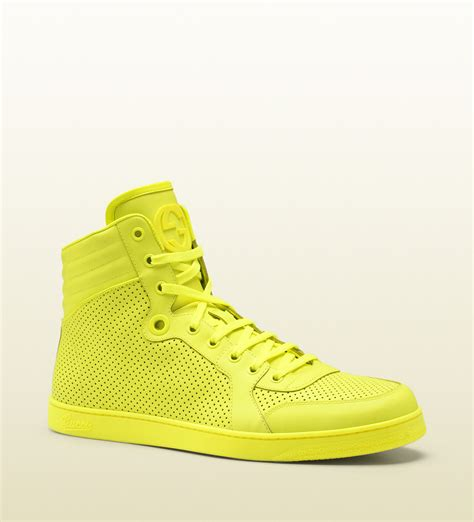 Gucci Neon Yellow Leather High Top Sneakers