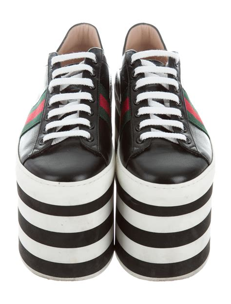 Gucci Peggy Leather Platform Sneakers Celebrities
