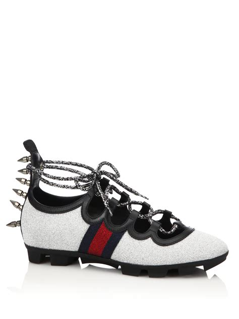 Gucci Spiked Sneakers Glitter Web