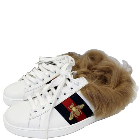 Gucci White Fur Sneakers