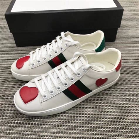 Gucci White Sneakers Heart