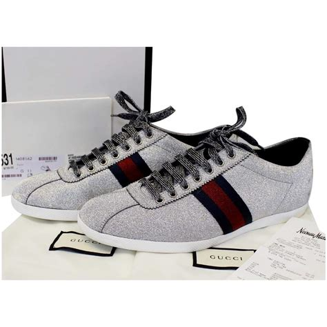 Gucci White Sneakers With Silver Studs