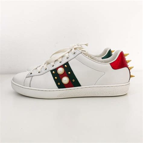 Gucci White Studded Sneakers