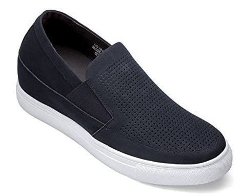 H55062-2.4 inches Taller - Height Increasing Elevator Shoes - Dark Blue Slip-on Fashion Sneakers