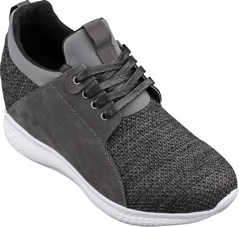 H71923-3.2 inches Taller - Height Increasing Elevator Shoes - Cement Charcoal Fashion Sneakers